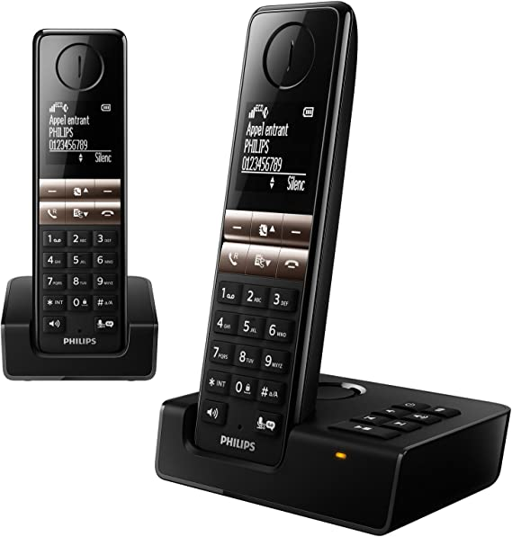 Philips D4652B/FR - Teléfono (Teléfono DECT, Terminal inalámbrico, Altavoz, 50 entradas, Identificador de Llamadas, Negro): Amazon.es: Electrónica