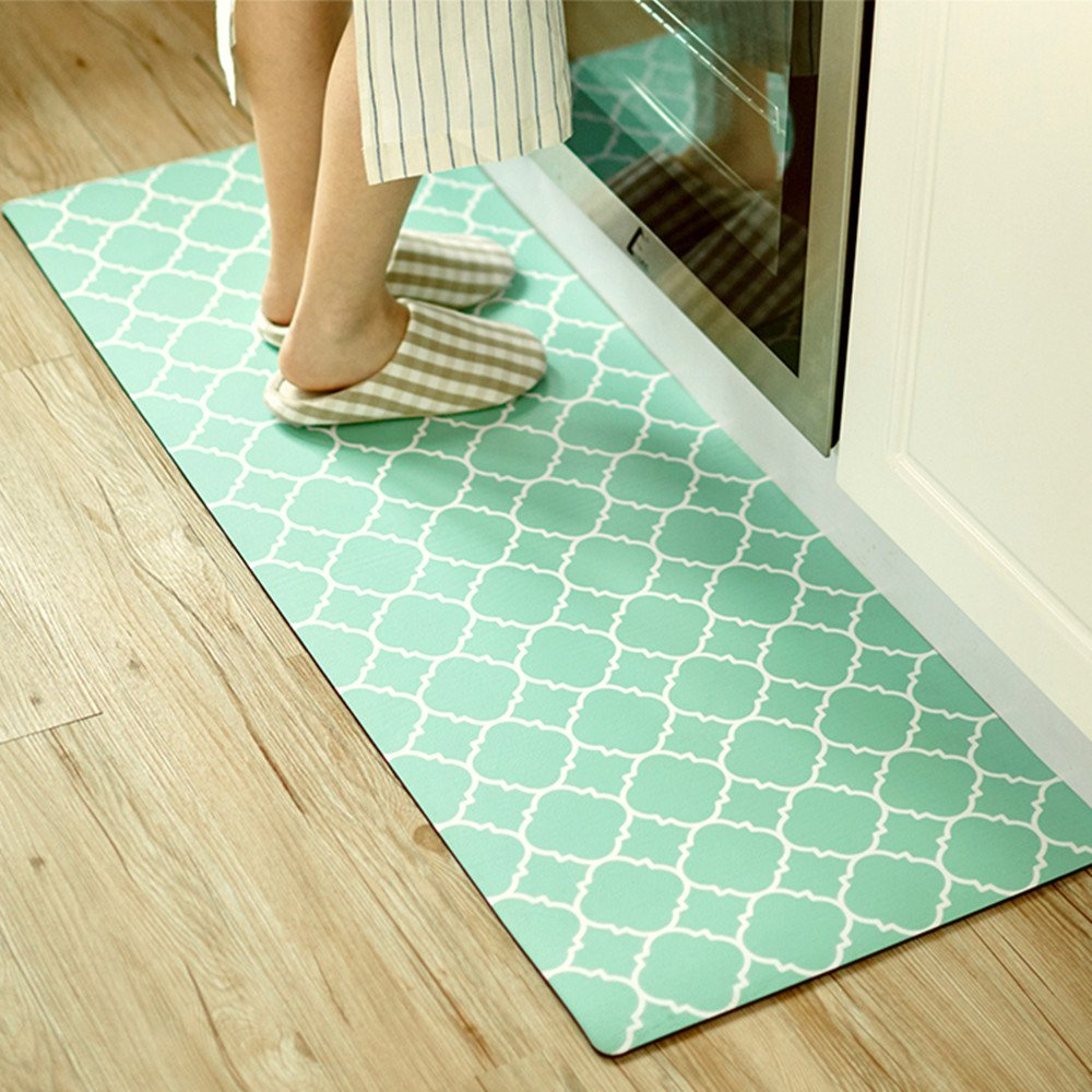 Small Rug Mat Doormat Geometry Pattern Kids Room Kitchen Rug Mint Green,17.7''x31.5'' Lattice Trellis Accent Area Rug Entry Way Bright Carpet