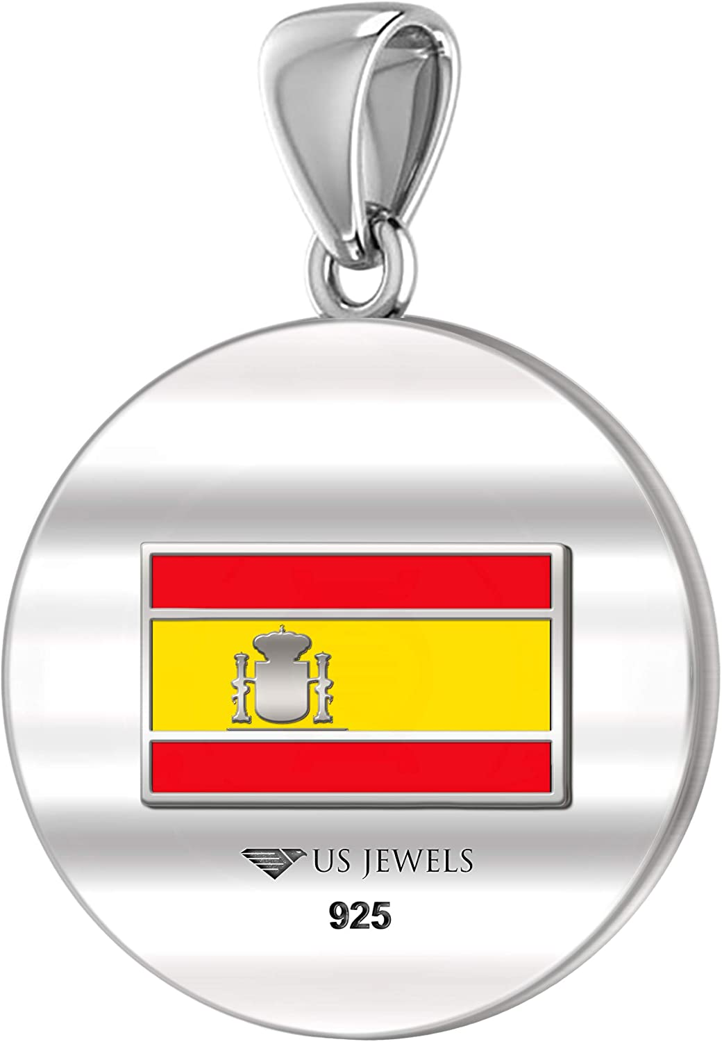 0.925 Sterling Silver 1in DNA Certified Italian Heritage Pendant Medal with Flag Necklace 18in to 24in