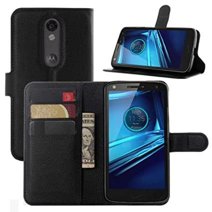 Droid Turbo 2 Cases, Premium PU Leather Wallet Flip Case Cover with Stand Card Holder