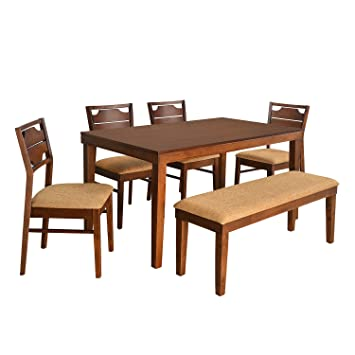 8a253b58047  home by Nilkamal Olenna Four Seater Dining Kit (Walnut)  Amazon.in  Home    Kitchen