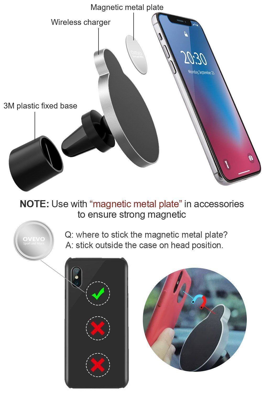 Samsung Galaxy S9//S8//S7//S6 kilokelvin Wireless Car Charger for Apple iPhone XS//XR//X//8