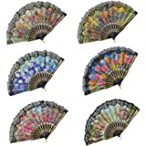 """Rbenxia Spanish Floral Folding Hand Fan Flowers Pattern Lace Handheld Fans Size 9"""" Pack of 10 Random Color Suitable For Wedding Dancing Church Party Gifts"""