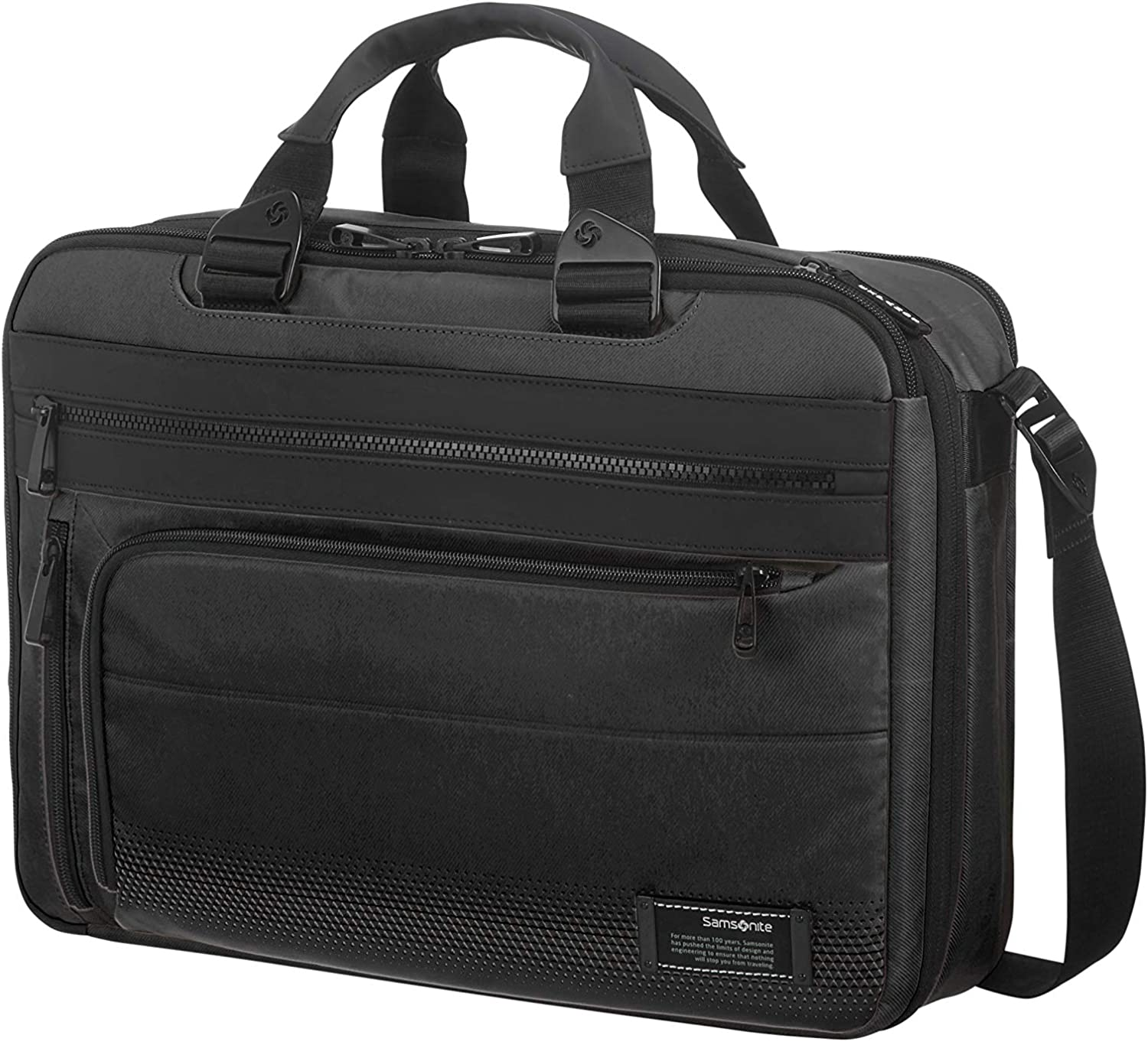 Samsonite Cityvibe 2.0 Three-Way Expandable - Maletín portadocumentos (41 cm, 19,0 L), Color Negro