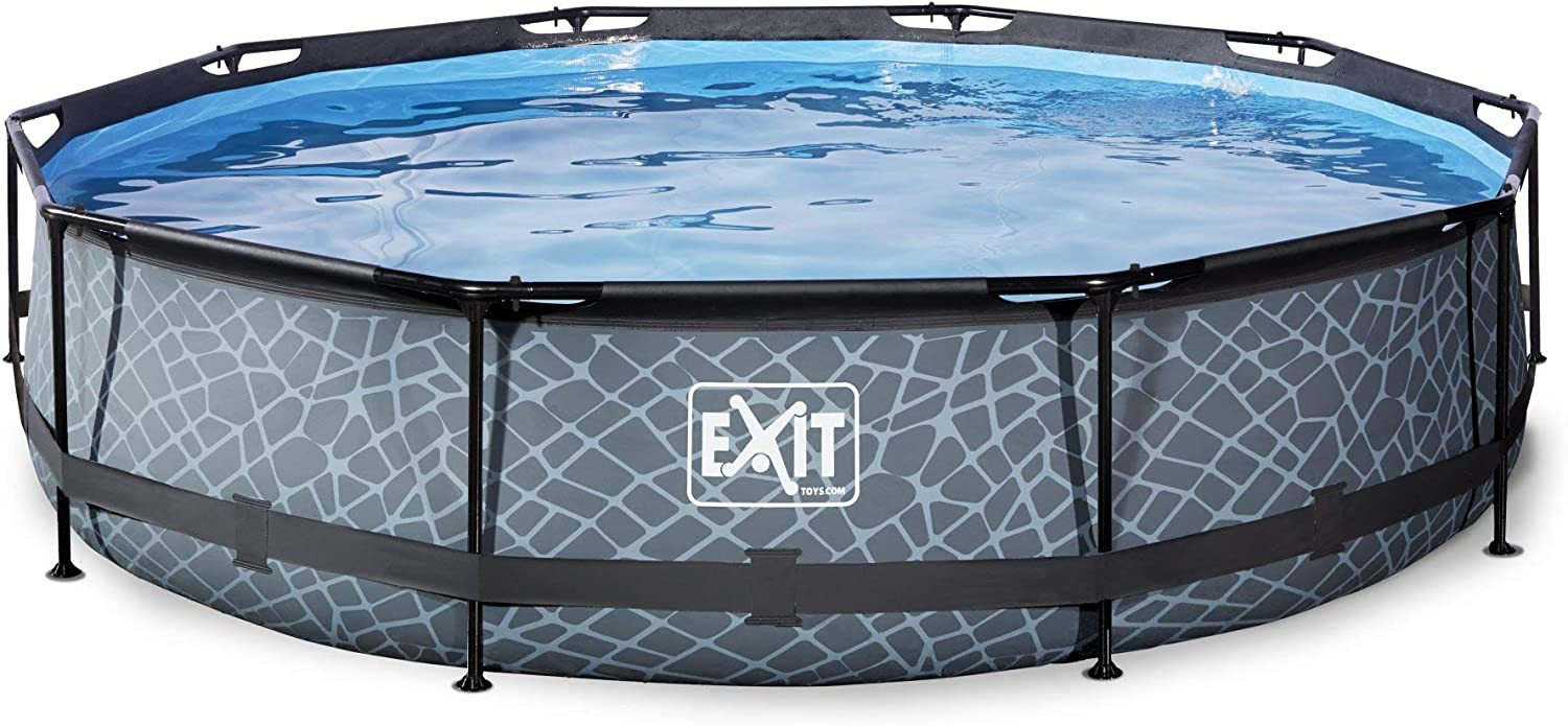 EXIT Stone Pool ø360x76cm with Filter Pump - Grey - Piscina ...