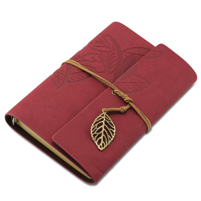 KEESIN - Taccuino vintage in similpelle, copertina morbida con foglia. Diario, agenda, idea regalo. Brown