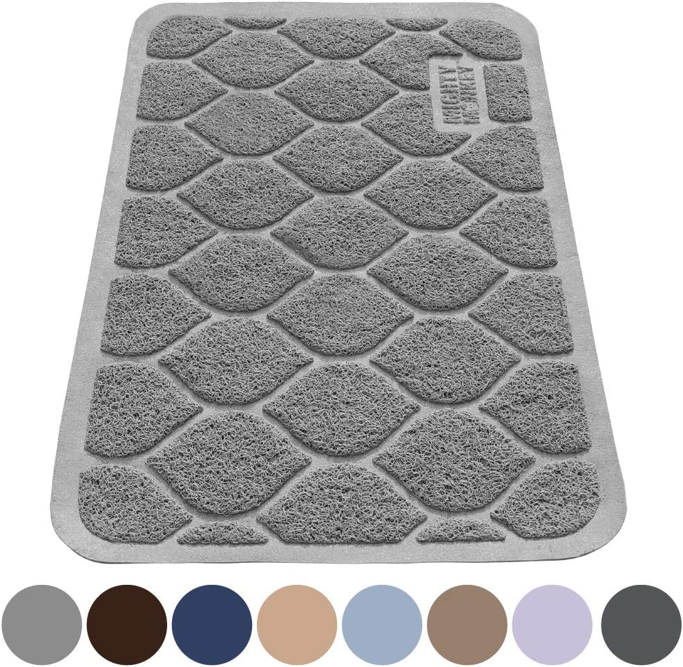 MIGHTY MONKEY Premium Cat Litter Trapping Mats, Phthalate Free, Best Scatter Control, Large and Jumbo XL, Mat Traps Litter, Easy to Clean, Soft on Kitty Paws