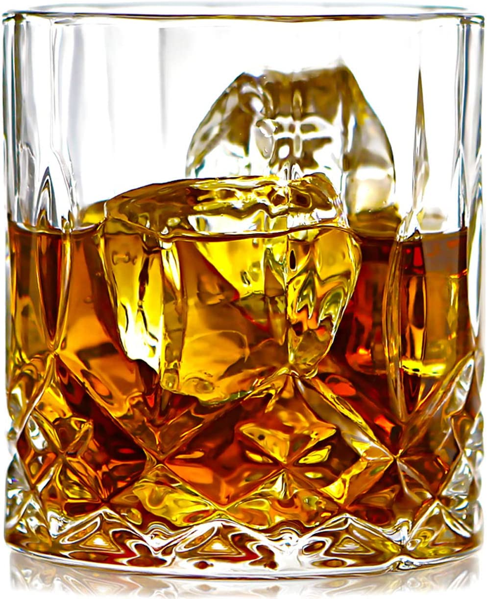 ELIDOMC Lead Free Crystal Whiskey Glasses (Set of 4), 11 Oz Unique Bourbon Glass, Ultra-Clarity Double Old Fashioned Glasses