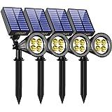 URPOWER Solar Lights Waterproof Solar Lights Outdoor 2-in-1 Adjustable Solar Spotlight Wall Light Auto On/Off Solar-Powered L