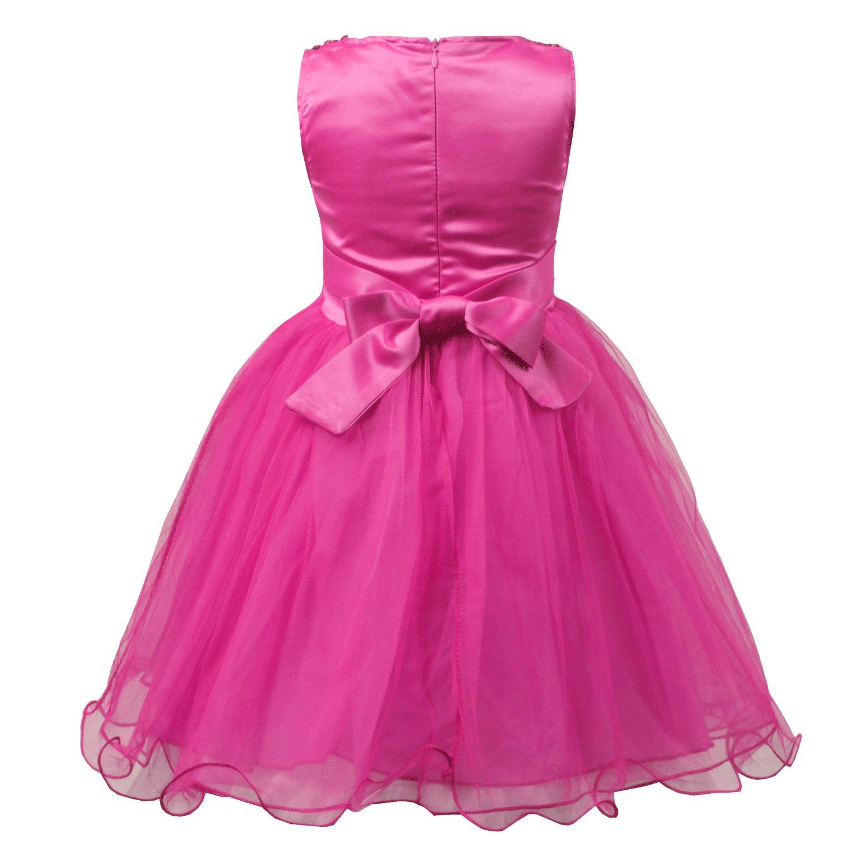 jerrisapparel Little vestido Girls Rosa Malla Flor fiesta de ...