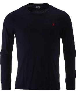 Polo Ralph Lauren Men Long Sleeve Crewneck Pony Logo T-Shirt (Large, Navy