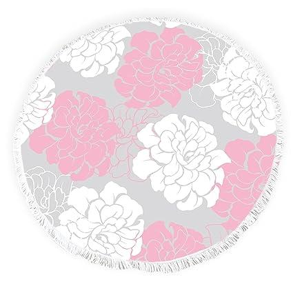 Yun Nist Toallas de playa redondas con borlas florales de peonía flecos círculo grueso gitano alfombra