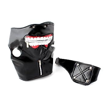 Máscara de Ken Kaneki de Tokyo Ghoul (piel sintética, cremallera)