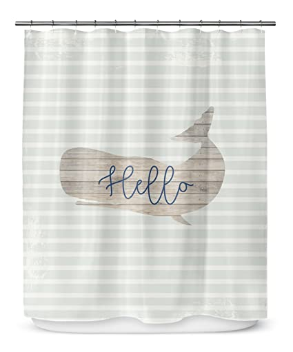 KAVKA DESIGNS Hello Whale Shower Curtain Grey Tan Blue