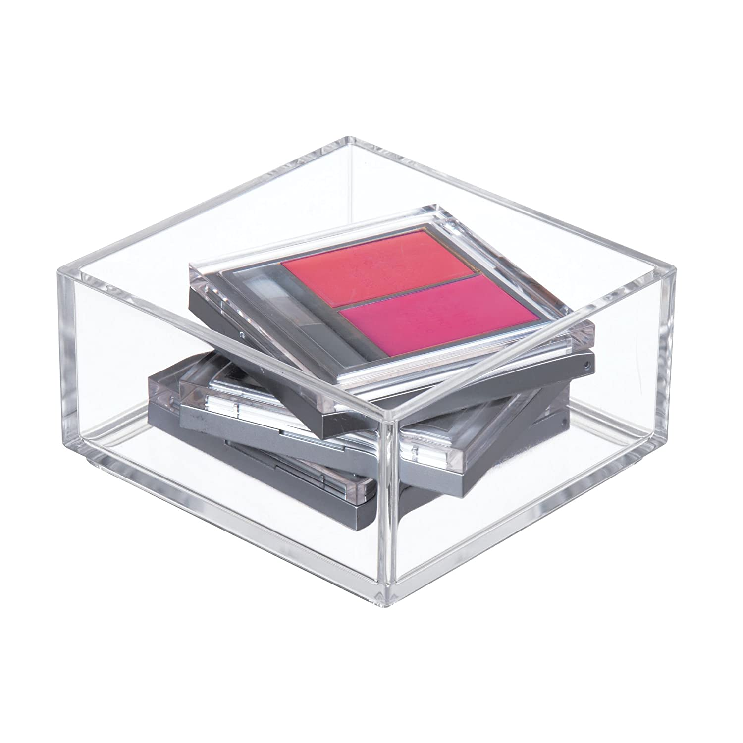 """InterDesign Clarity Plastic Drawer Organizer, Cosmetic Storage Container for Vanity, Bathroom, Kitchen Cabinets 4"""" x 4"""" x 2"""" Clear"""