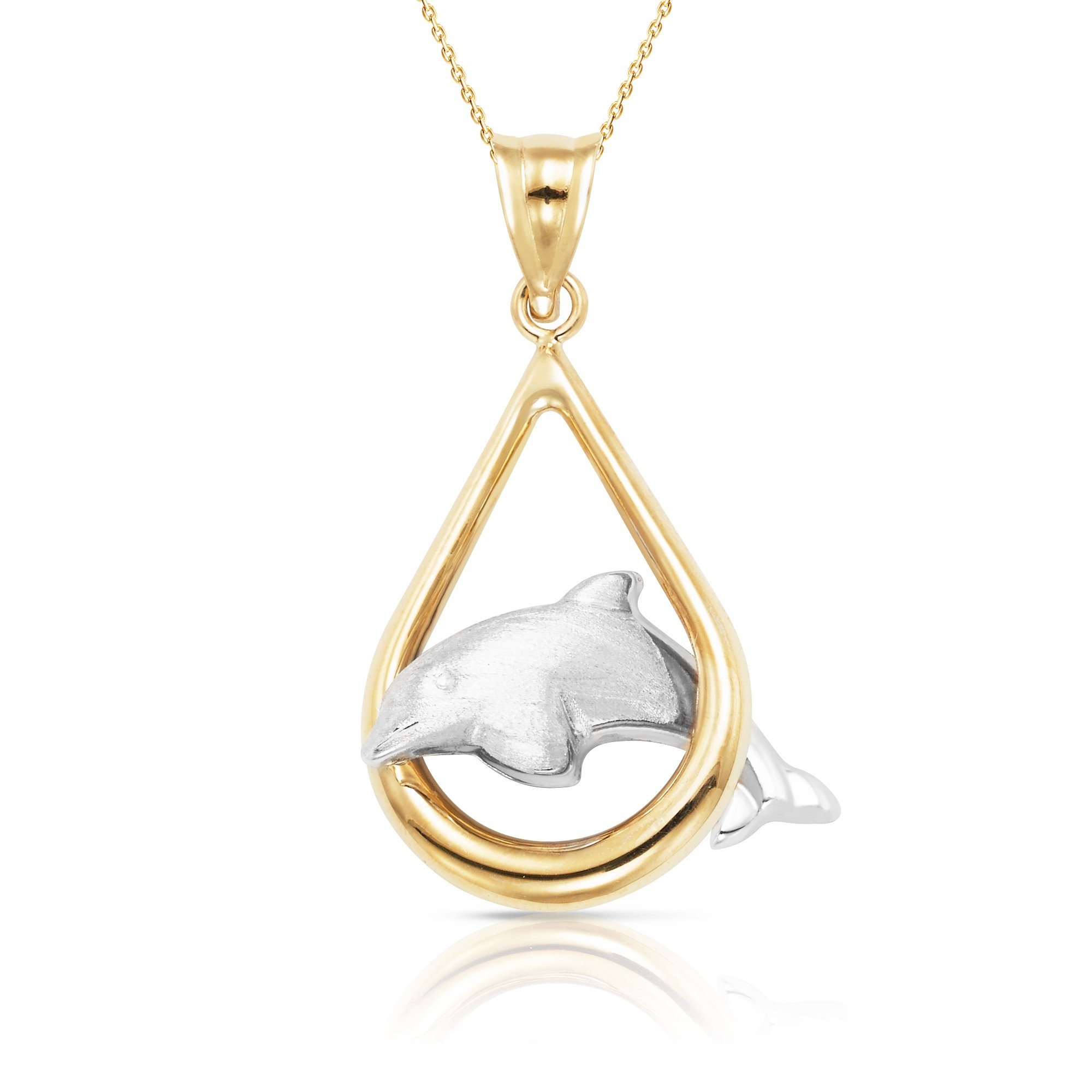 New 2017 Style 14k White and Yellow Solid Gold Dolphin Pendant Necklace For Women, Men and Children (22, yellow-gold)