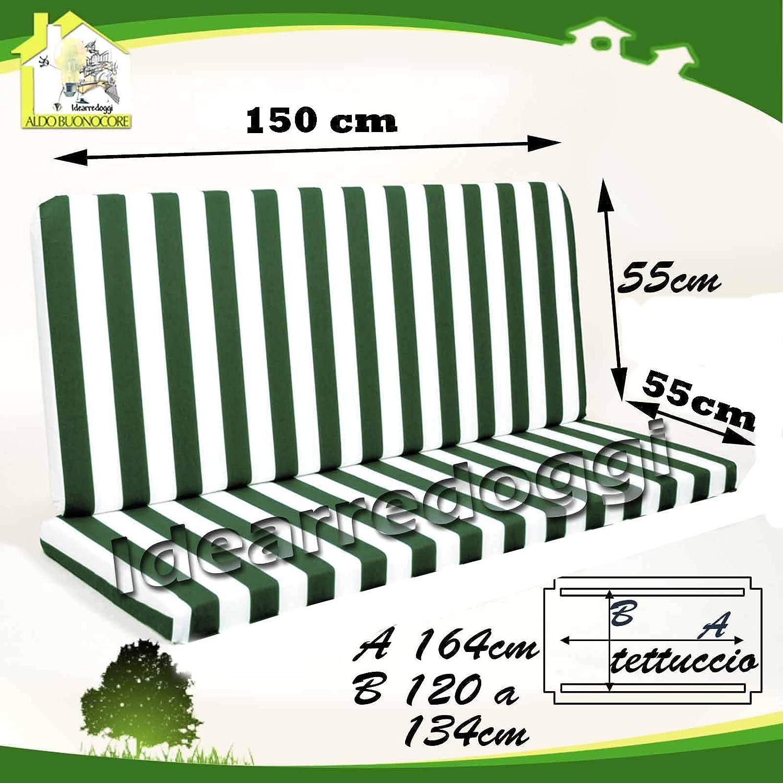 Cuscino per dondolo Lastra 3 Posti 150 Cm Bianco//Verde