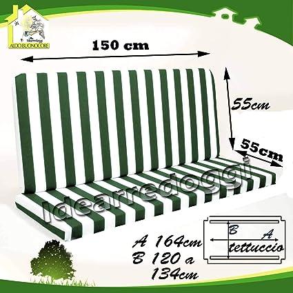 Vendita Cuscini Per Dondolo.Cuscino Per Dondolo Lastra 3 Posti 150 Cm Bianco Verde