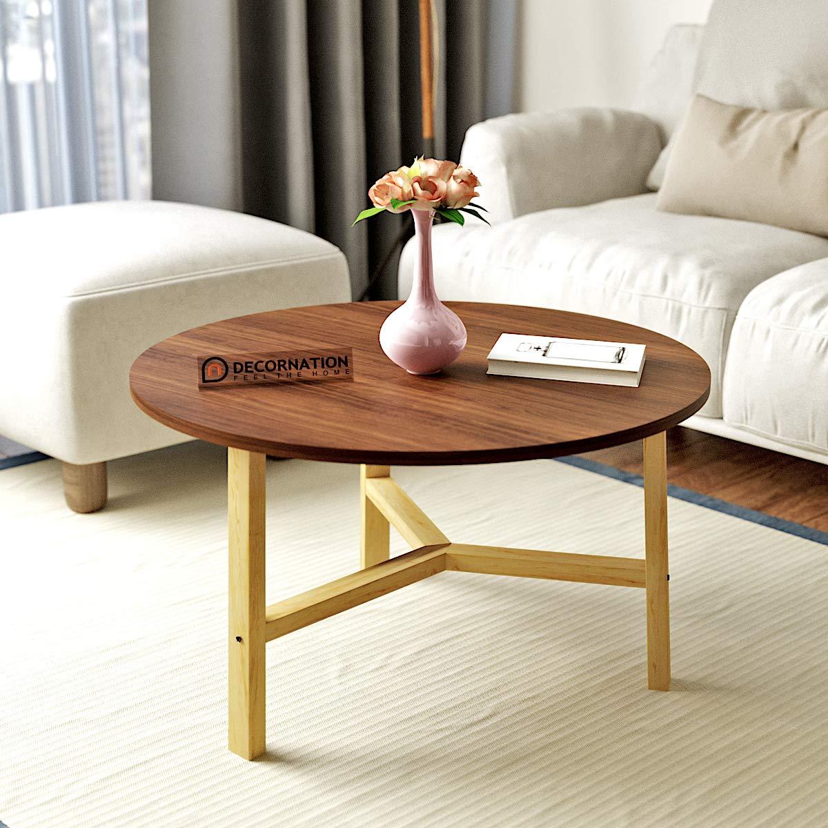 Decornation Millie Wooden Mdf Round Coffee Table With Sturdy Wood Base Walnut Amazon In Home Kitchen
