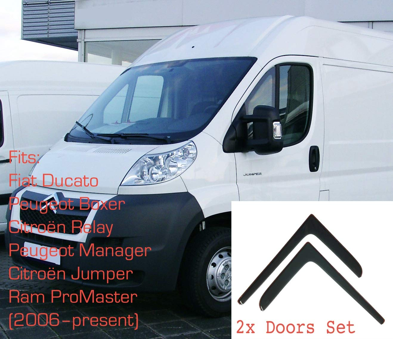 Peugeot Boxer Citroen Jumper 2006-onwards In-Channel Antiturbo Per Auto Vetro Acrilico Anti Vento Guardia di Pioggia Sole Neve 2x Deflettori DAria Fiat Ducato