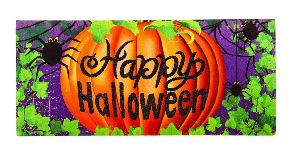 Evergreen Halloween Spider Decorative Mat Insert, 10 x 22 inches