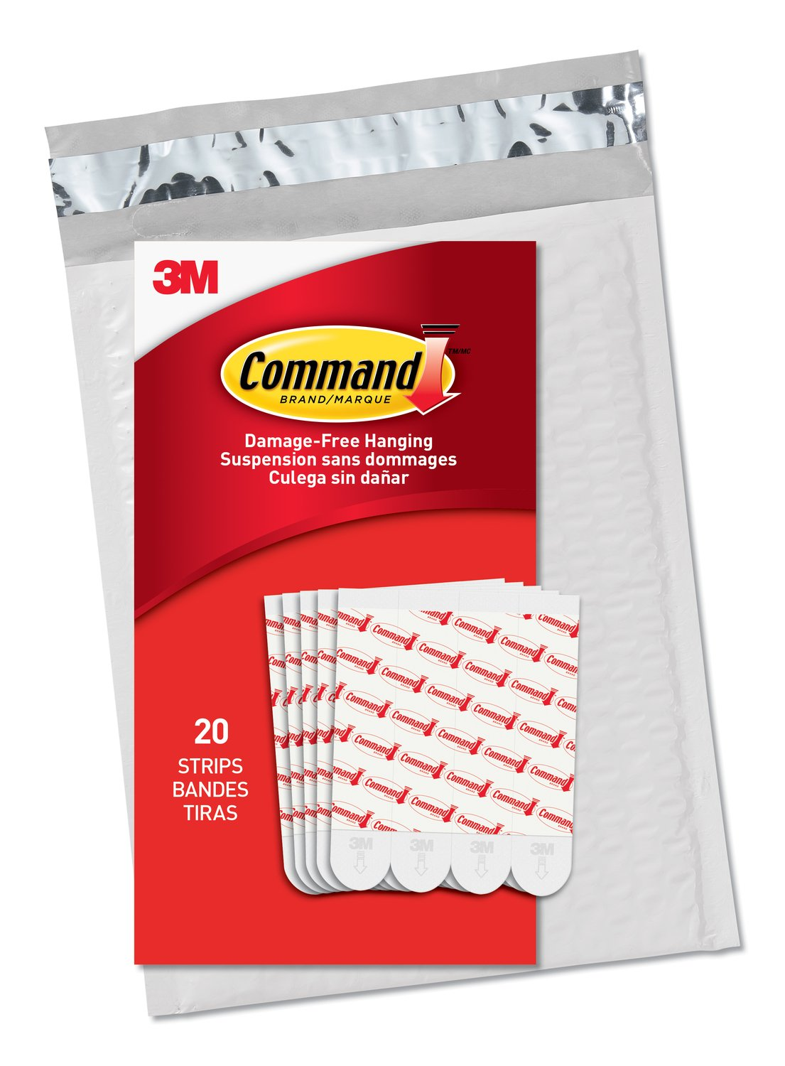 Command Large Refill Strips White 20 Strips GP023 20NA Easy to Open Packaging