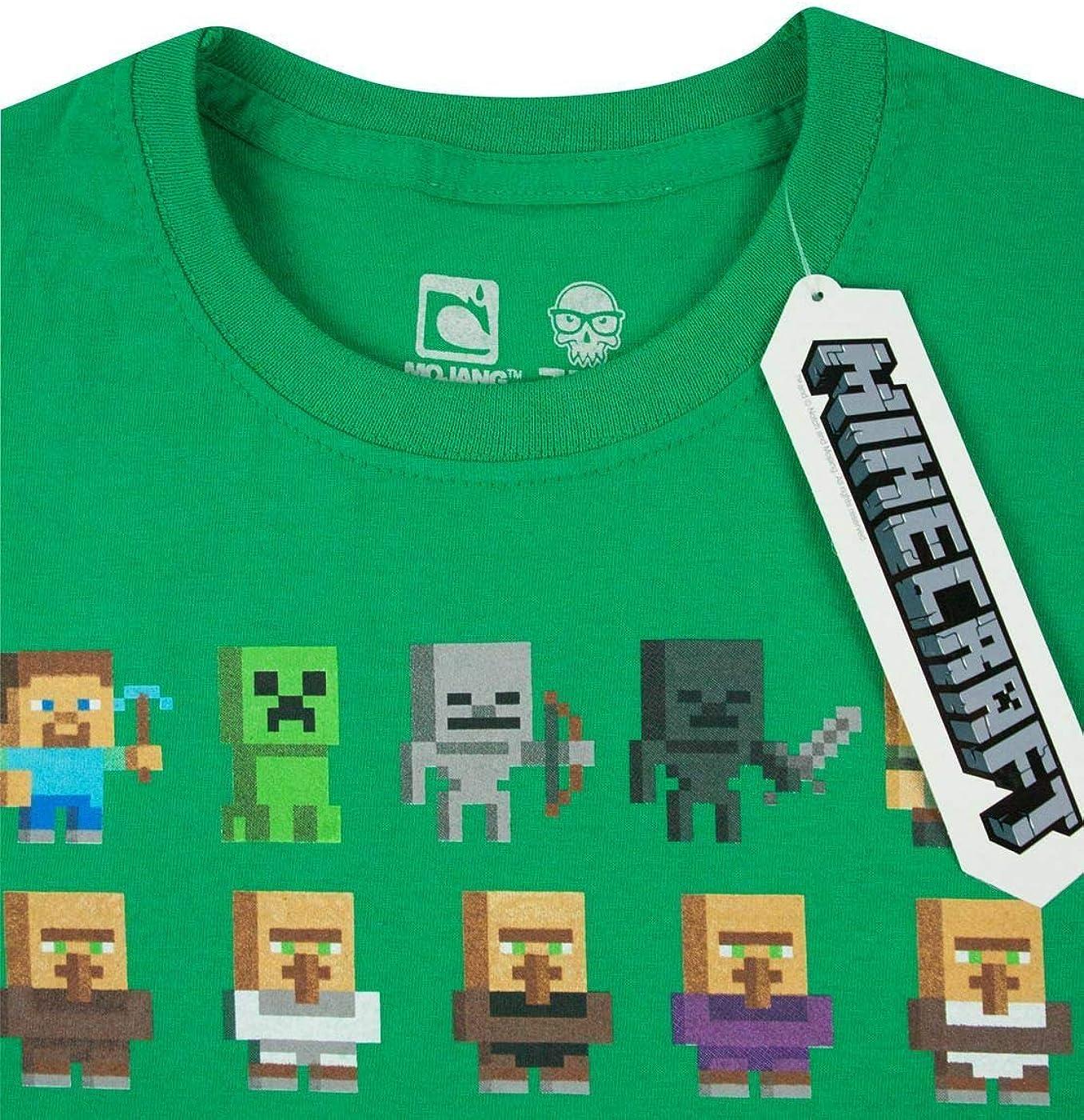 T-Shirt /à Manches Courtes Minecraft Gar/çon