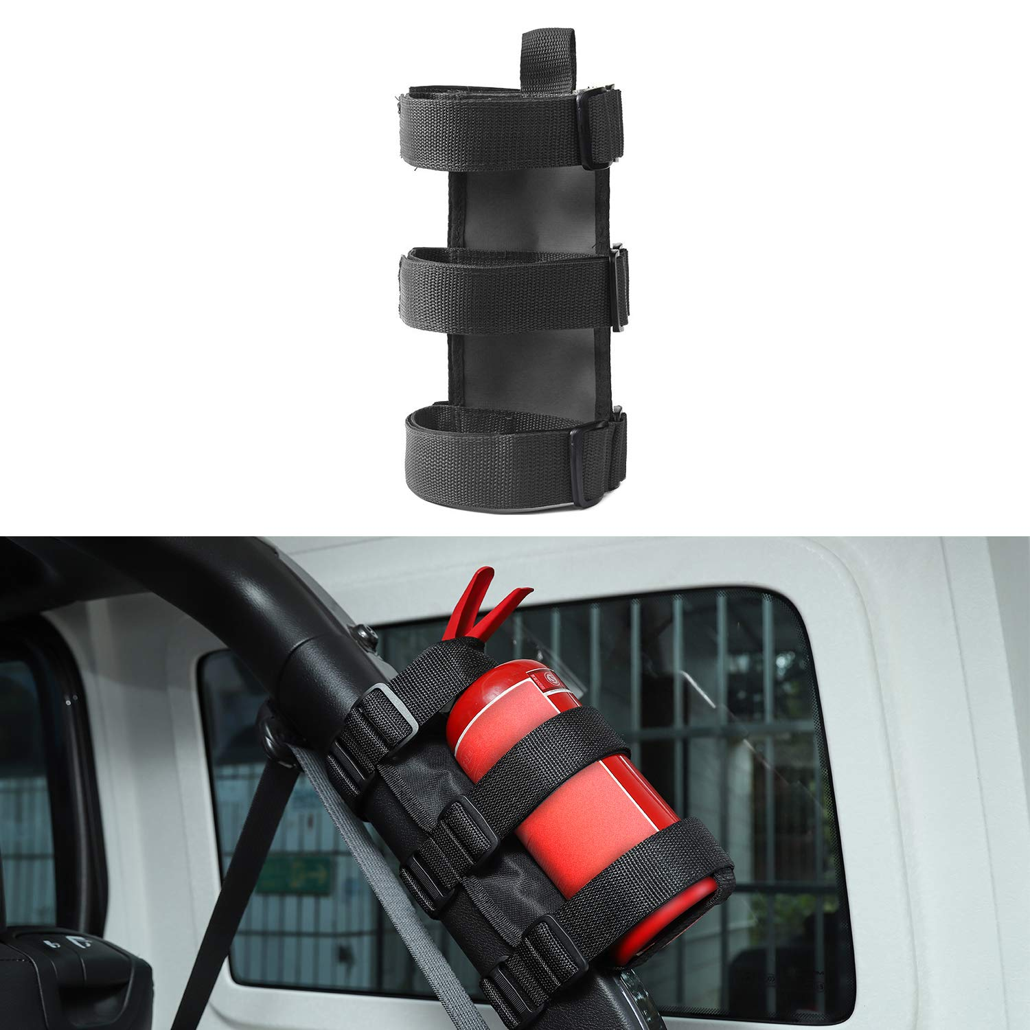 Adjustable Car Roll Bar Fire Extinguisher Holder for Jeep Wrangler JK JL TJ YJ (Black) by JeCar