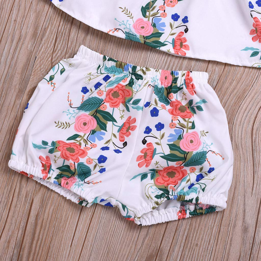3Pcs Infant Baby Girls Floral Print Tops Shorts Headbands Outfits Set WOCACHI Toddler Baby Girls Clothes