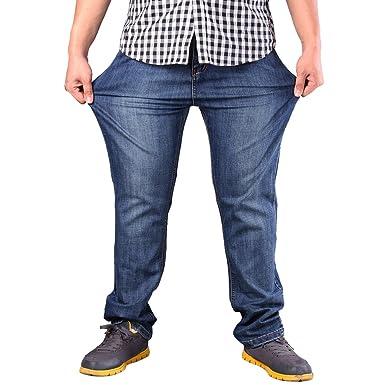 Zhiyuanan Hombre Pantalones Vaqueros Holgados Básicos Chicos ...