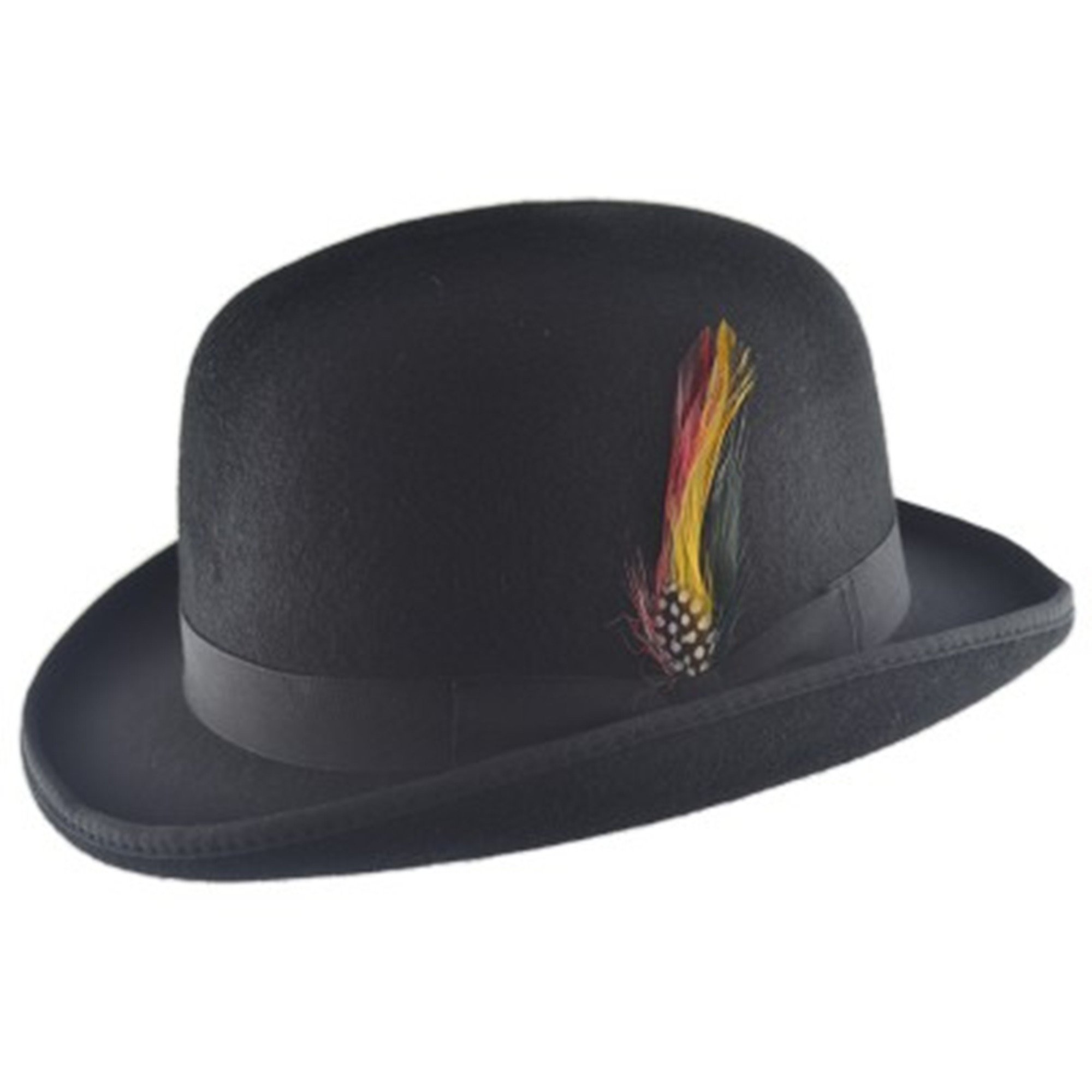 High Quality Hard Top 100% Wool Bowler Hat WITH Feather - Satin Lined -  Sizes 3f1b53eeb9ea