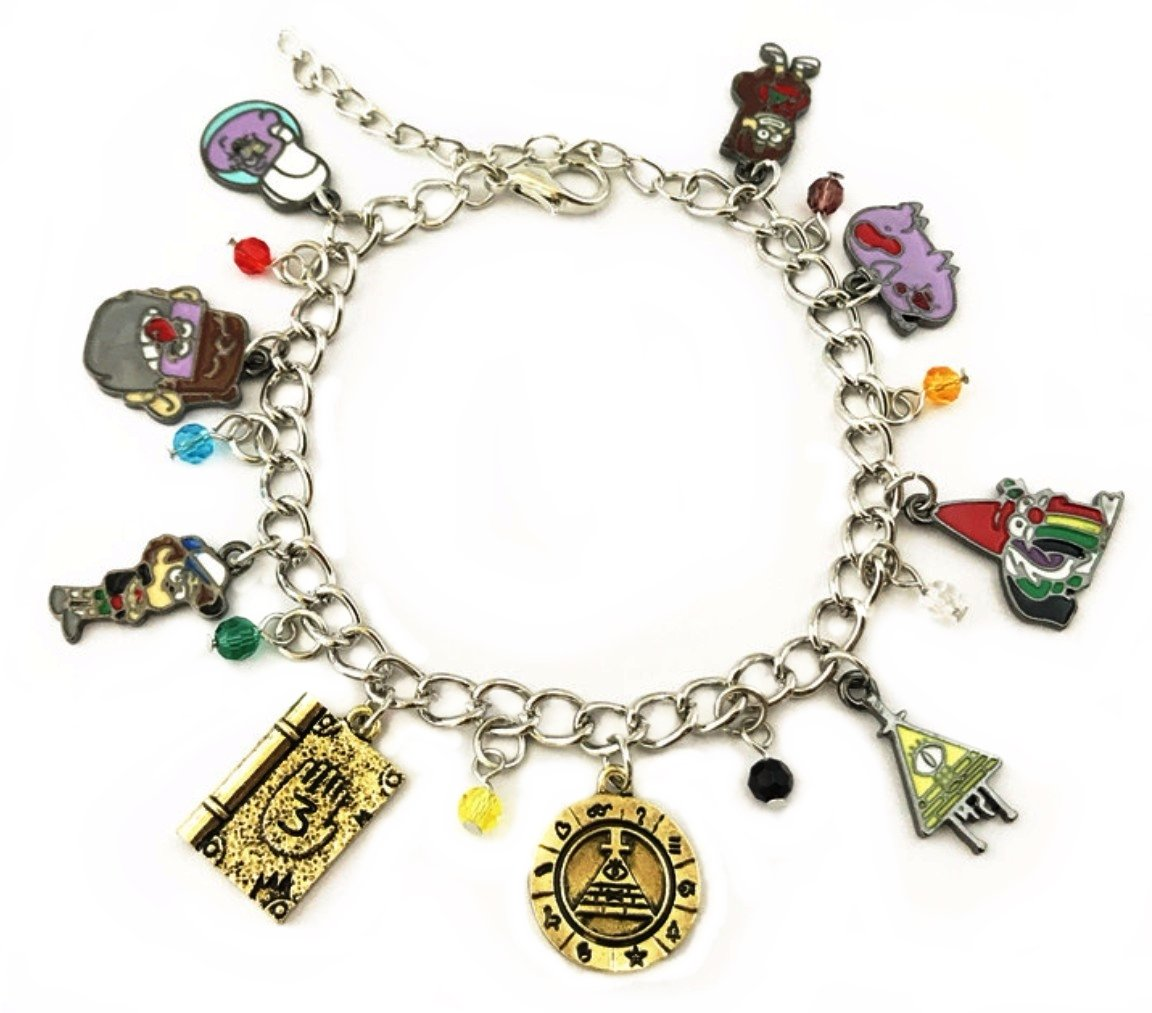 Gravity Falls Themed Charms Silvertone Metal/Enamel Charm Bracelet