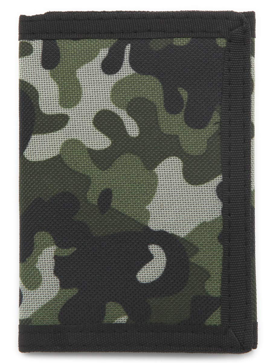 Front Pocket Wallet with Magic Sticker Gray RFID Trifold Canvas Outdoor Sports Wallet for Kids