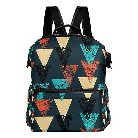 COOSUN Pintado a mano patrón en negrilla con el colegio Triángulos Mochila mochila de viaje Multi