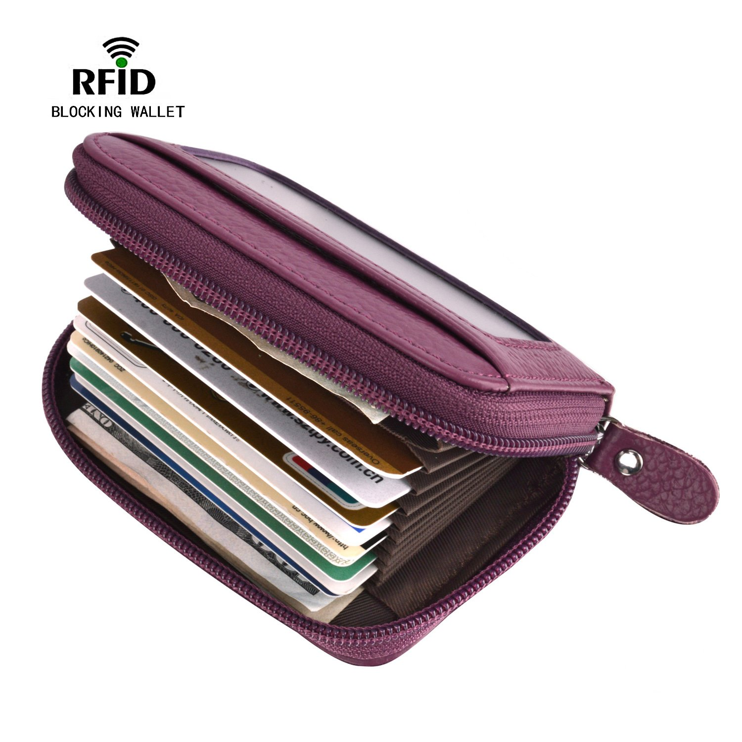 RFID Blocking Wallet for Women, Security Card Holder for Travel and Work, for Business Cards, and ID Card, Genuine Leather Accordion Zip Wallet for Credit Cards and Money KB-purple