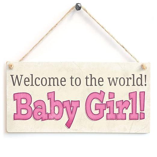 Bienvenido al mundo! Niña! - cartel de madera regalo del ...