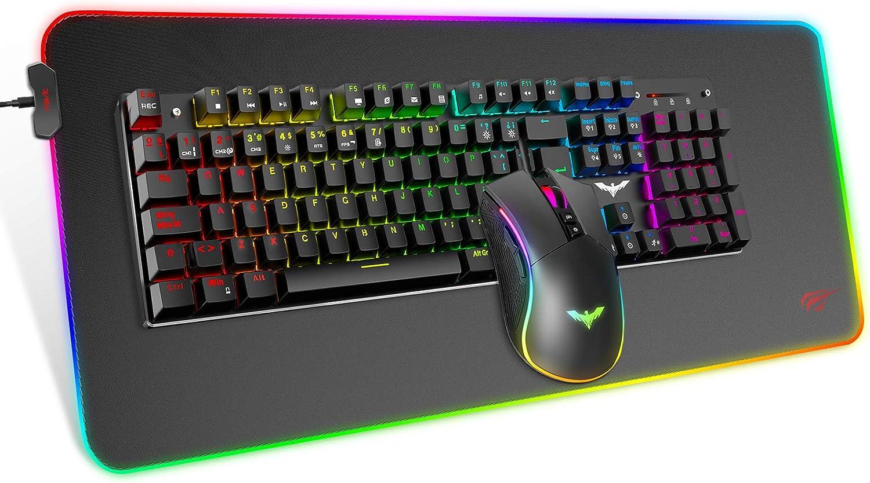 havit Teclado mecánico Gaming y ratón Español Teclados Gaming con Cable, Azul Anti-Efecto Fantasma de 105 Teclas, Ratón Gaming programable, Alfombrilla Gaming, Negro
