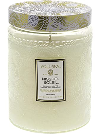 Amazoncom Voluspa Nissho Soleil Large Embossed Glass Jar Candle