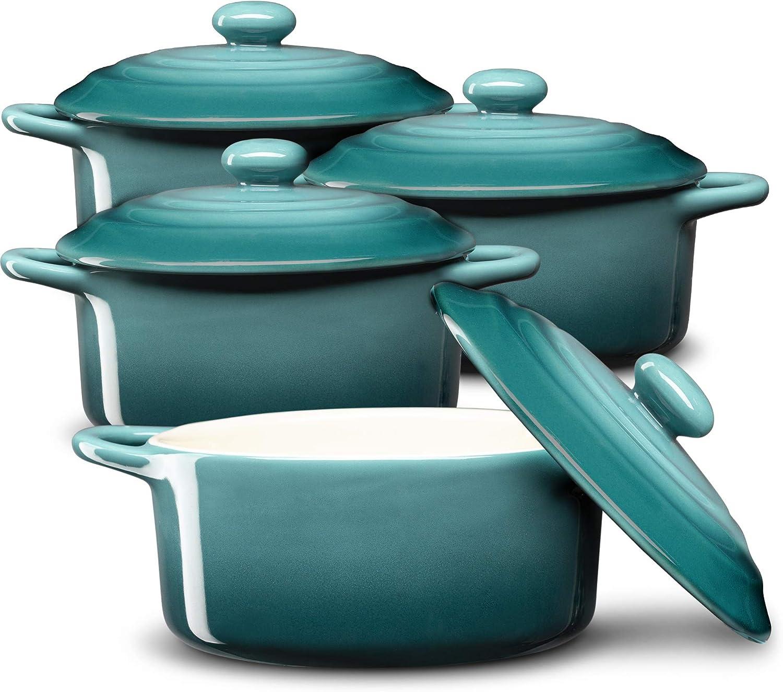 Mini Cocotte, Casserole Dish, Dutch Oven, Ceramic Make, Easy to Lift Lid, Set of 4, (Aqua Gradient)