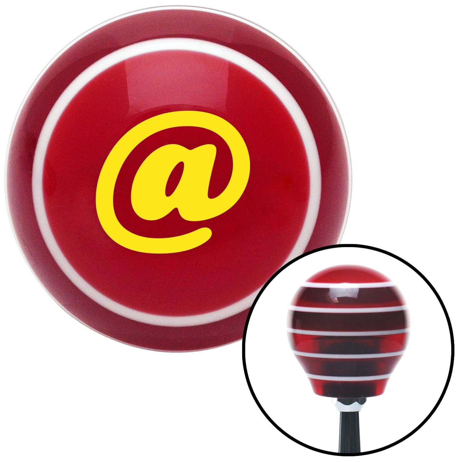 American Shifter 119521 Red Stripe Shift Knob with M16 x 1.5 Insert Yellow at Symbol