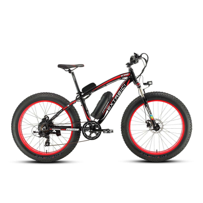 Cyrusher/® Extrbici XF660 48V 500 vatios Negro Rojo Mens Bicicleta el/éctrica Mountain Bike 7 velocidades Bicicleta el/éctrica Frenos de Disco