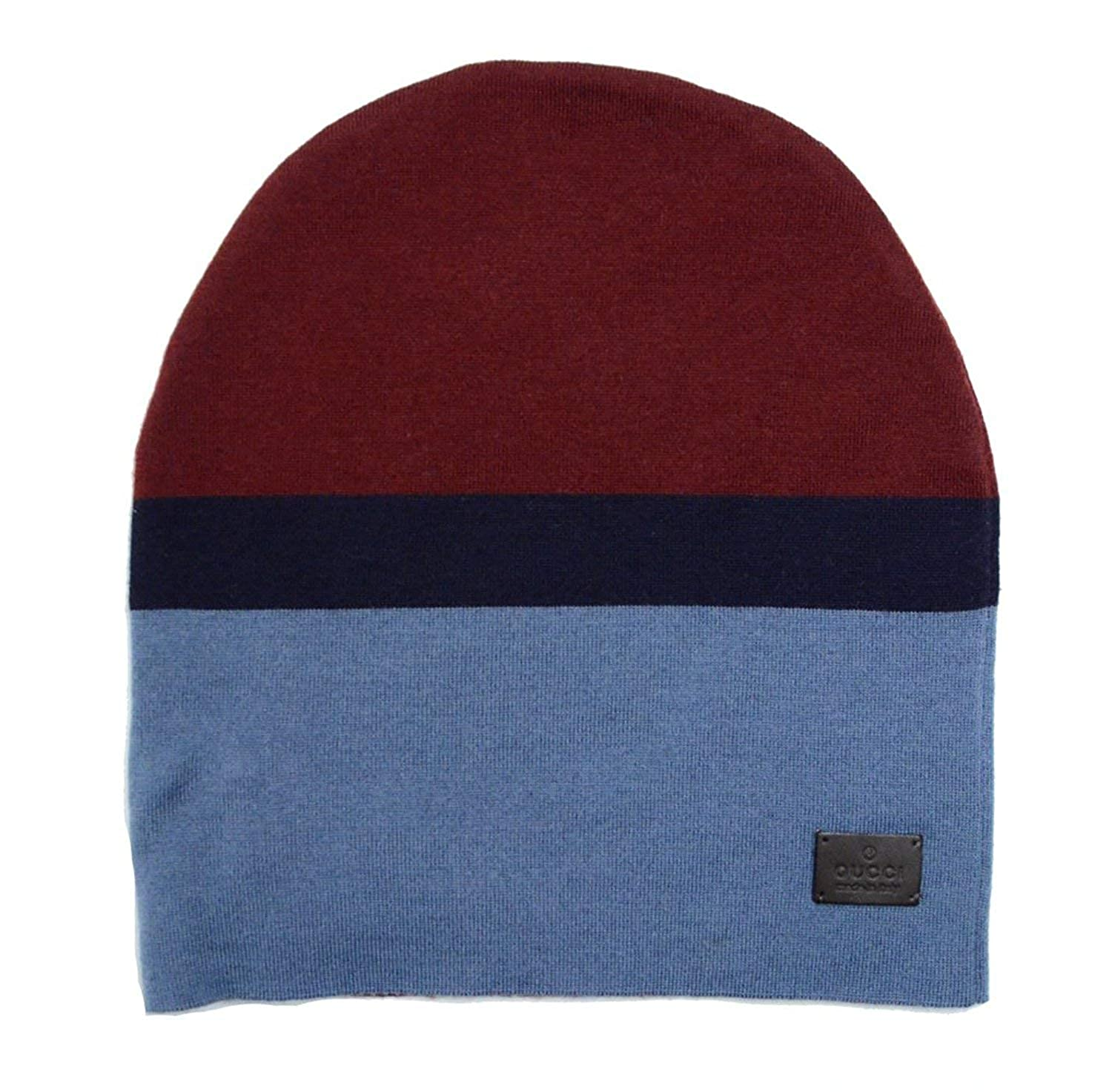Amazon.com  Gucci Unisex Burgundy Blue Wool Beanie Hat 353999 6068  Clothing e2f1622d620