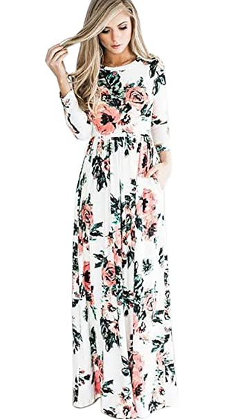 ca4a85829b71 IHAYNER Women's Floral Printed Long Dress Vintage Flower Casual Floor  Length Maxi Dress White M