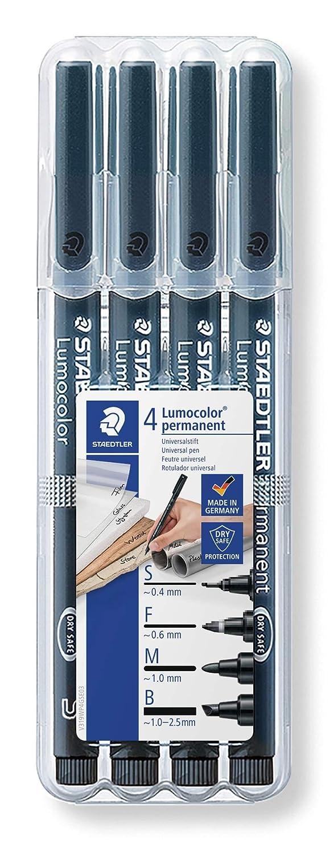 Staedtler Lumocolor 31-9WP4GS - Rotuladores permanentes de color negro. Estuche con 4 unidades de distinto grosor.