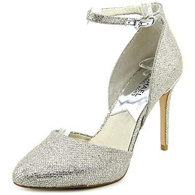 Cheap Michael Michael Kors Georgia Ankle Strap Pointed Toe Canvas Silver Heels For Women Sale
