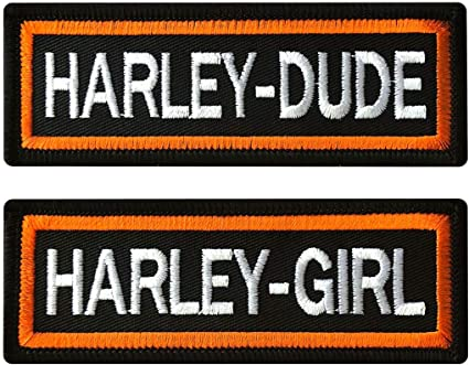Harley Dude-Harley Girl Embroidered Patch 2PC Bundle-Iron on sew on