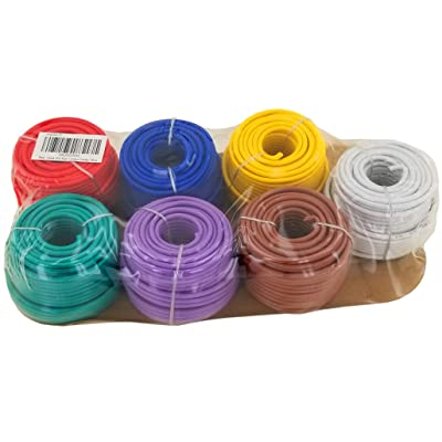 14 Gauge 7 Color Combo Automotive Low Voltage Primary Wire 50 ft Roll (350 ft Total) for General Purpose Car Stereo Audio Amplifier Remote 12V Trailer Harness Hookup Wiring: Automotive