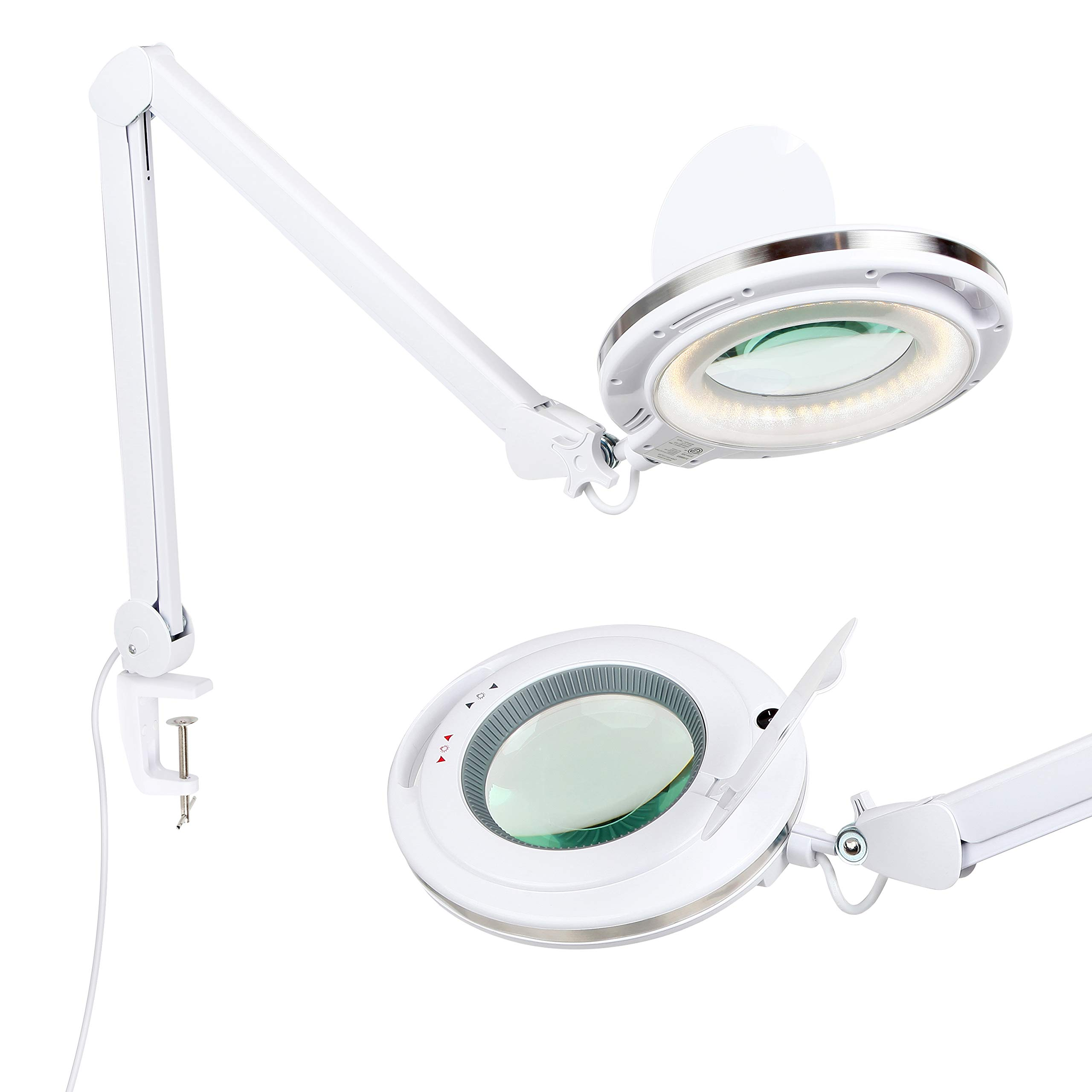 Brightech LightView PRO - LED Magnifying Glass Desk Lamp for Close Work - Bright, Lighted Magnifier for Reading, Crafts & Pro Tasks - Light Color Adjustable & Dimmable - 1.75x Magnification by Brightech