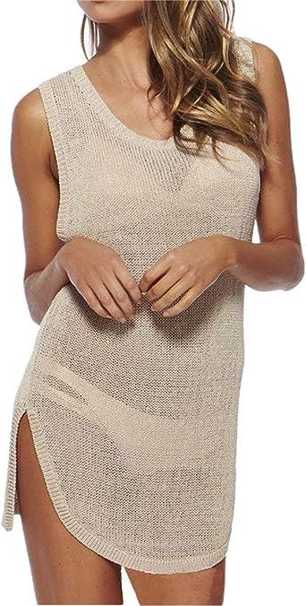 L Melocotón para Mujer Túnica Playa Verano De Tejer Vestido ...