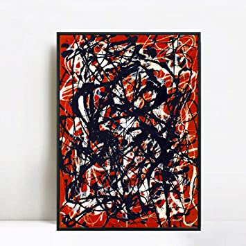 "free form painting  INVIN ART Framed Canvas Giclee Print Art Free Form by Jackson Pollock  Abstract Wall Art (8"" X 8"",Black Slim Frame)"